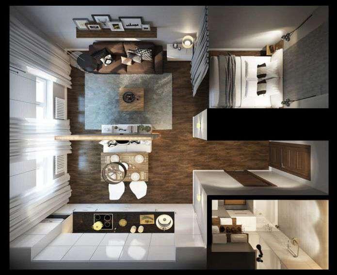 Дизайн квартиры студии, фото планировок современных квартир