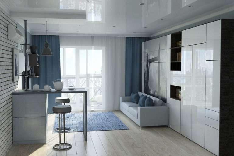Дизайн маленькой однокомнатной квартиры, идеи интерьера, вариант для площади 33 кв м фото