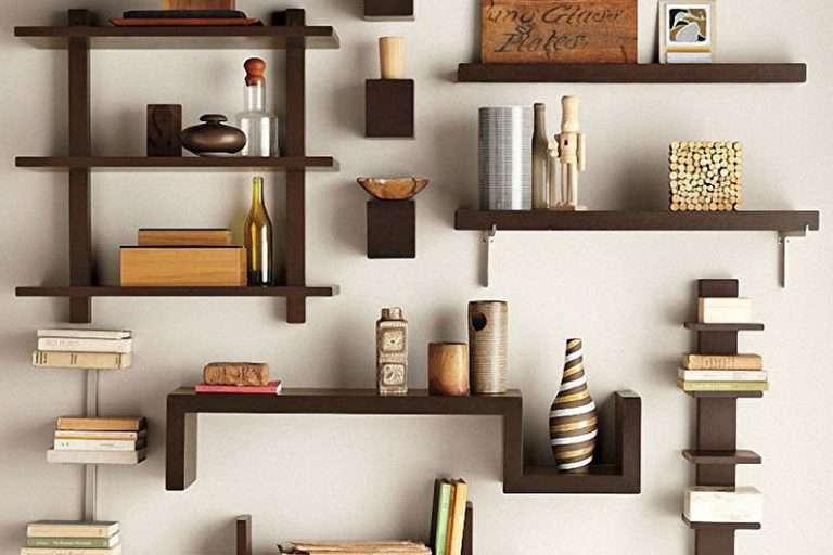 Дизайн полок в гостиную — функциональное и декоративное назначения, фото подборка