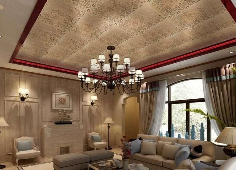 Дизайн потолка в гостиной: 100 фото оформления потолка в зале