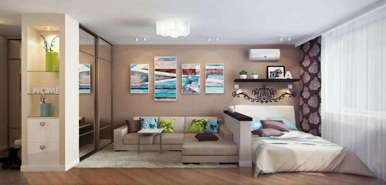 Гостиная совмещенная со спальней — фото примеров оформления