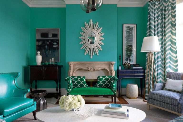 Гостиная в бирюзовом цвете: 60 идей на фото дизайна интерьера от