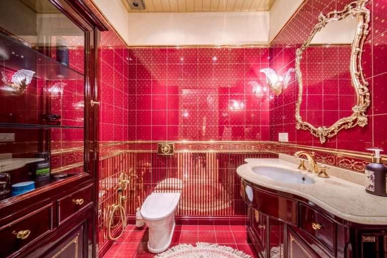 Красная ванная комната: оттенки, варианты сочетания цветов и т