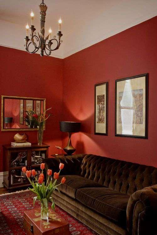 Красные обои в гостиной (более 30 фото красных обоев в интерьере); УЮТ В ДОМЕ