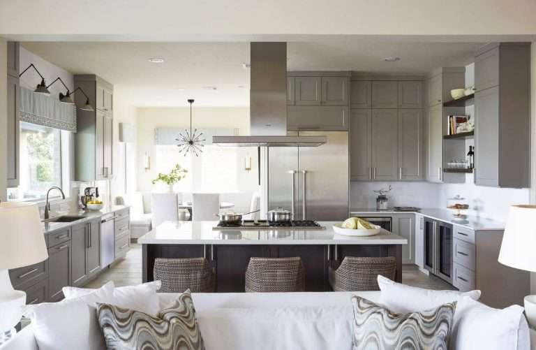 Кухня с гостиной в студии: 100 фото дизайна совмещенного помещения