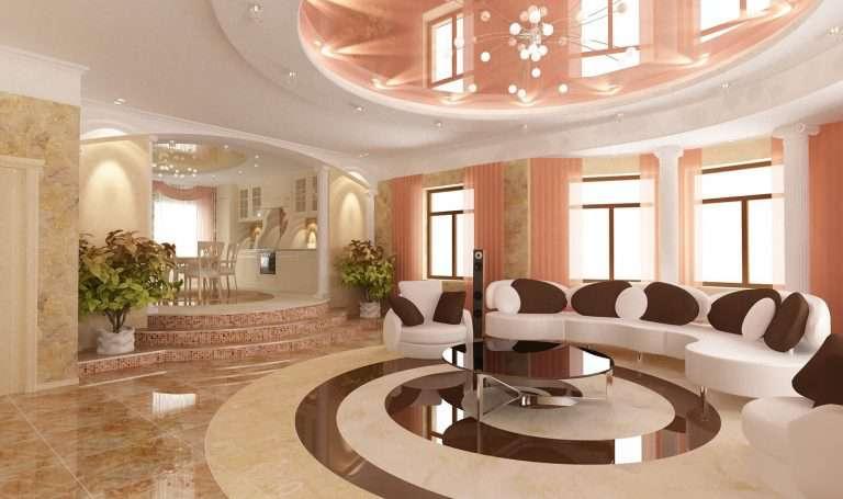 Натяжные потолки для зала в квартире (85 фото): виды современных покрытий, красивый дизайн гостиной 18 кв