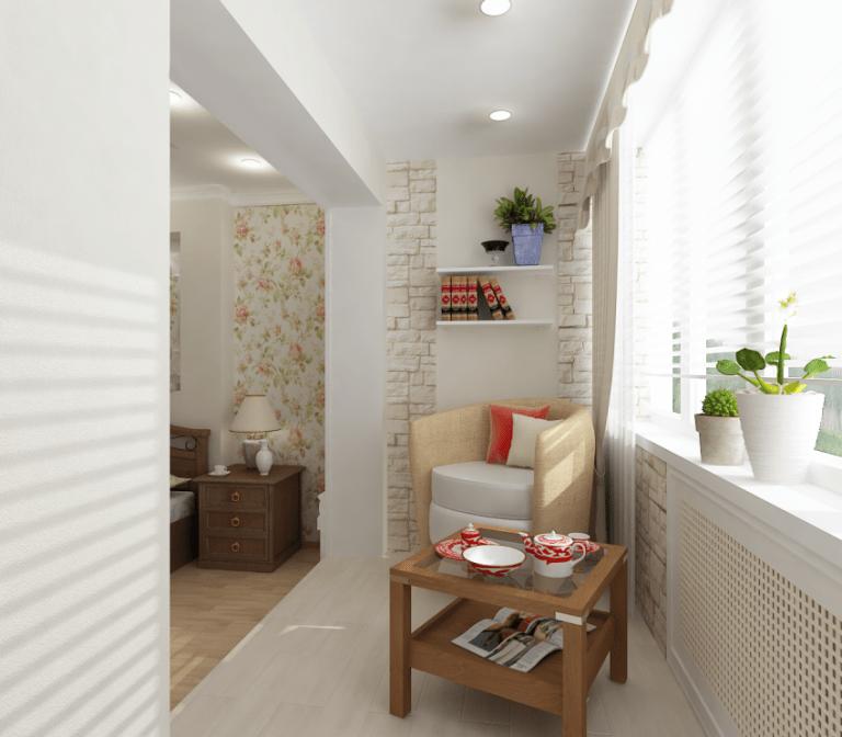 Объединение балкона с комнатой: дизайн переходной лоджии, шторы для гостиной