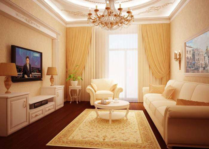 Обои для маленького зала, примеры интерьеров