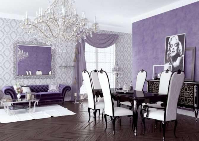Оформление интерьера гостиной в сиреневом цвете — практичные советы и уникальная фото подборка