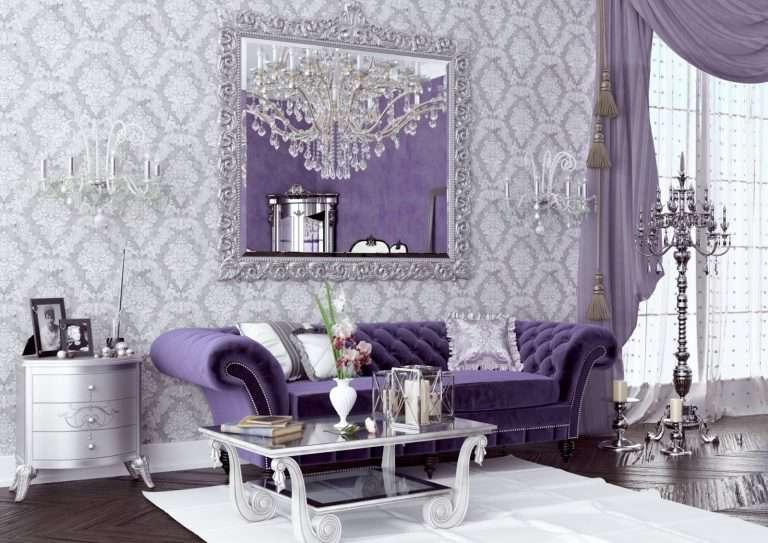 Сиреневая гостиная 100 фото идей современного дизайна гостиной