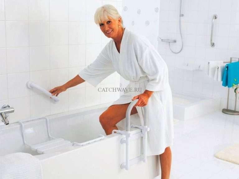 Ванные для пожилых: поручни, лестница, сиденья, ручки